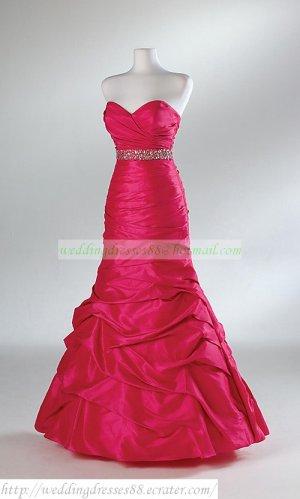 Free Shipping Strapless Gray Red Taffeta Taffeta Beaded Party Dress Prom Dress  Y001