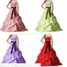 Free Shipping Hot Sale Strapless Pink Red Purple Taffeta Ruffled Party Dress Prom Dress  Y038