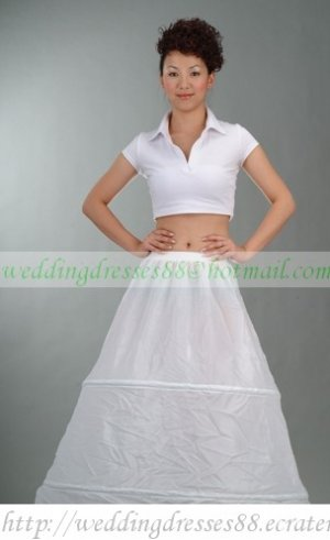 Free Shipping Bridal Accessories-White 2 Hoops No Organza Petticoat Crinoline Underskirt PC1