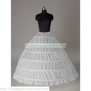 Free Shipping Bridal Accessories-White 6 Hoops No Organza Petticoat Crinoline Underskirt PC11