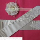 Bridal Accessories-White or Ivory Satin Ruffled Lace Beaded Wedding Gloves G12