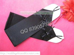 Bridal Accessories-Black Satin No Finger Wedding Gloves G23