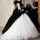 Hot Sale A-line Strapless Wedding Dress Black Taffeta White Organza Ruffled Bridal Gown W180