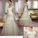 Free Shipping Long Sleeves Lace White Organza Bridal Gown Applique Beaded Wedding Dress L01