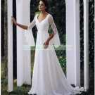 Free Shipping  Half Sleeves White Chiffon Bridal Gown Lace Beaded Wedding Dress L10