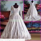 Free Shipping  Long Sleeves White Lace Bridal Gown Applique Beaded A-line Wedding Dress L36