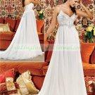 Free Shipping Double Spaghetti White Chiffon Bridal Gown Applique Beaded Empire Wedding Dress L42