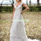 Free Shipping Cap Sleeves White Tulle Lace Bridal Gown Beaded A-line  Wedding Dress E941