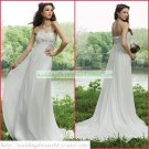 Free Shipping Strapless White Chiffon Lace Bridal Gown Empire Maternity Wedding Dress H004