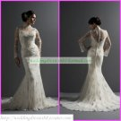 Free Shipping Long Sleeves Ivory Champagne Lace Bridal Gown Mermaid High-necked Wedding Dress M038