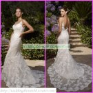 Free Shipping Double Spaghetti White Lace V-neck Bridal Gown Mermaid Wedding Dress M045