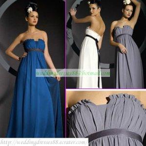 Free Shipping Strapless Blue White Chiffon Ruffled Empire Bridesmaid Dress With Sash MD006