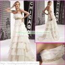 Free Shipping Strapless White Organza  Bridal Gown Empire Maternity Beaded Towerskirt  Wedding Dress