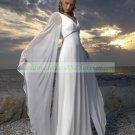 Free Shipping Long Sleeves White Chiffon Bridal Gown Beaded Beach Wedding Dress L40