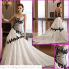 Free Shipping  Strapless White Taffeta Black Organza Applique Lace Beaded A-line Wedding Dress L33