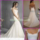 Free Shipping  Double Straps White Organza Bridal Gown Applique Beaded Mermaid Wedding Dress L22