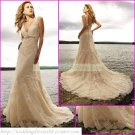 Free Shipping  Double Straps Champagne Lace Applique Beaded  A-line Beach Wedding Dress L21