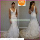 Free Shipping  Double Straps White Bridal Gown Applique Beaded Mermaid Wedding Dress L19