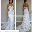 Free Shipping  Strapless White Lace Silver Belt Bridal Gown Beaded A-line Wedding Dress L16