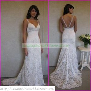 Free Shipping  Double Straps White Lace Bridal Gown Beaded A-line  Wedding Dress L12