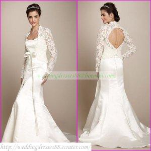 Free Shipping  Long Sleeves Lace Jacket White Satin Beaded Mermaid Wedding Dress L11