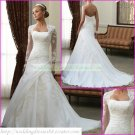 Free Shipping  Long Sleeves White Organza Applique Beaded Wedding Dress With Jacket L08