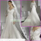 Free Shipping Long Sleeves Lace White A-line Bridal Gown Applique Beaded Wedding Dress L07
