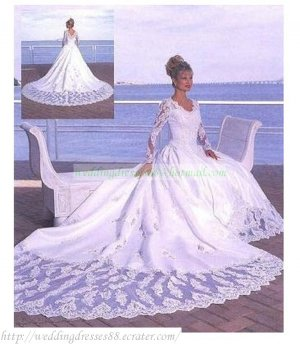 Free Shipping Long Sleeves A-line Bridal Gown Applique Beaded Cathedral Train Wedding Dress L09