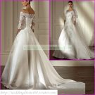 Free Shipping Half Sleeves Lace White Satin Bridal Gown Applique Beaded Wedding Dress L05