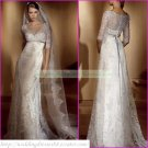 Free Shipping Half Sleeves Lace White Bridal Gown Applique Beaded Button Wedding Dress L02