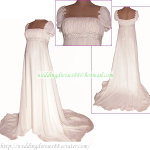 Free Shipping Short Sleeves Chiffon White Chiffon Bridal Gown Empire Maternity  Beaded Wedding Dress