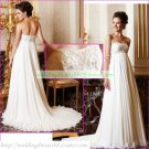 Strapless White Ivory Chiffon Bridal Gown Empire Maternity Embroidery Beaded Wedding Dress Sz 6-12
