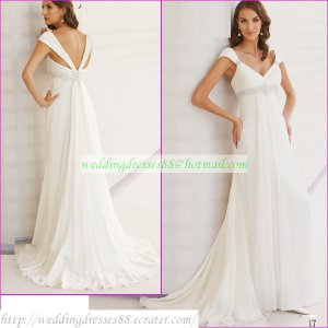 Free Shipping Cap Sleeves White Chiffon Bridal Gown Empire V-neck Maternity Beaded Wedding Dress