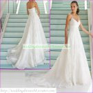 Free Shipping Double Spaghetti White Lace Bridal Gown Empire Maternity Beaded Wedding Dress