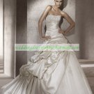 Free Shipping  White Taffeta Organza Bridal Gown Applique Ruffled Beaded Wedding Dress Portico
