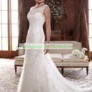 Double Straps  White Lace Bridal Gown Applique Beaded A-line Wedding Dress