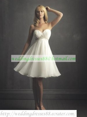 Free Shipping Strapless White Chiffon Bridal Gown Applique Beaded T-length Wedding Dress W515