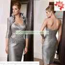 Free Shipping 3/4 Sleeves Jacket Silver Satin Ruffled Tea -Length the Mother of  Bridal Dress 1(4)