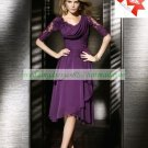 Free Shipping Half Sleeves Purple Chiffon Lace Beaded Tea -Length the Mother of  Bridal Dress 1(11)