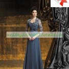 3/4 Sleeves Lace Jacet Gray Chiffon Lace Beaded Floor -Length the Mother of  Bridal Dress 1(12)