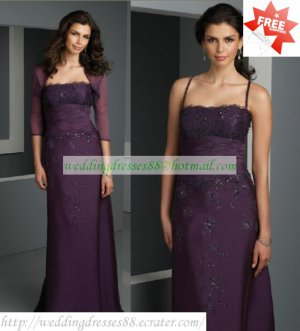 Free Shipping 3/4 Sleeves Jacet Purple Organza Ruffled Lace Beaded the Mother of  Bridal Dress 1(26)
