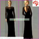 Free Shipping Long Sleeves Black Organza Beaded the Mother of  Bridal Dress Evening Dress 1(27)