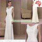 Free Shipping Hot Sale Cap Sleeves White Chiffon Embroider Beaded the Mother of  Bridal Dress 1(28)