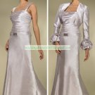 Free Shipping Long Sleeves Jacet Ivory Satin Ruffled Beaded the Mother of  Bridal Dress 1(32)