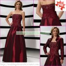 Free Shipping Long Sleeves Jacet Wine Taffeta Applique Beaded the Mother of  Bridal Dress 1(41)