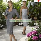 Free Shipping 3/4 Sleeves Jacet Gray Satin Lace Ruffled Beaded the Mother of  Bridal Dress 1(55)