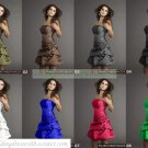 Free Shipping Strapless Free Color Taffeta Ruffled Beaded Tea-length Bridesmiad Dress Cocktail Dress