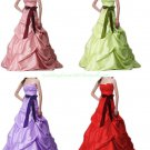 Free Shipping Strapless Pink Purple Green Taffeta Ruffled Beaded Ball Gown Prom Dress
