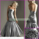 Free Shipping Strapless Silver Taffeta Ruffled Beaded Hand Flowers Party Dress Prom Dress