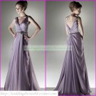 Free Shipping 2012 Double Straps Purple Chiffon Ruffled Beaded Party Dress Prom Dress